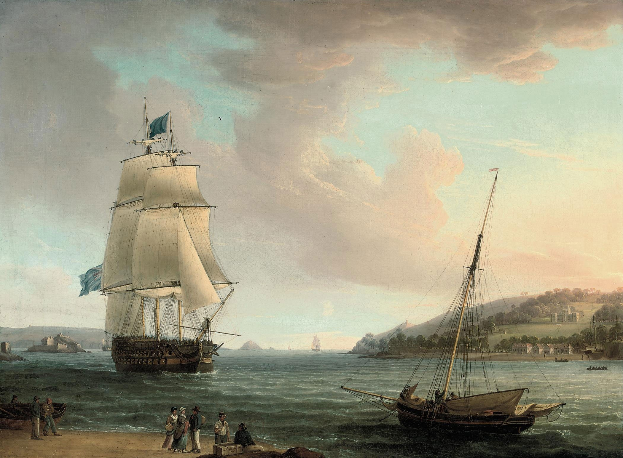 File Thomas Whitcombe A Crowded Flagship Of An Admiral The Blue Ping Mount Edgbe Jpg