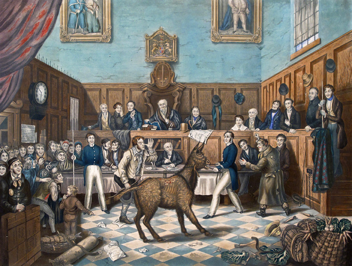 artwork depicting an animal in a courtroom