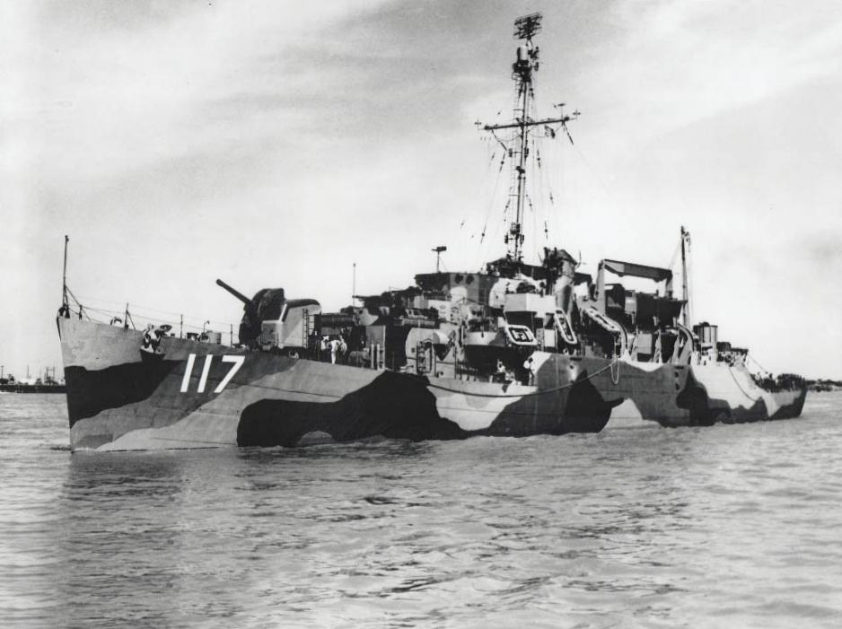 USS Joseph M. Auman (APD-117) off Orange, Texas (USA), on 30 April 1945.jpg