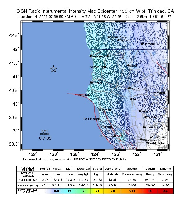 2005 Eureka Earthquake ShakeMap.jpg