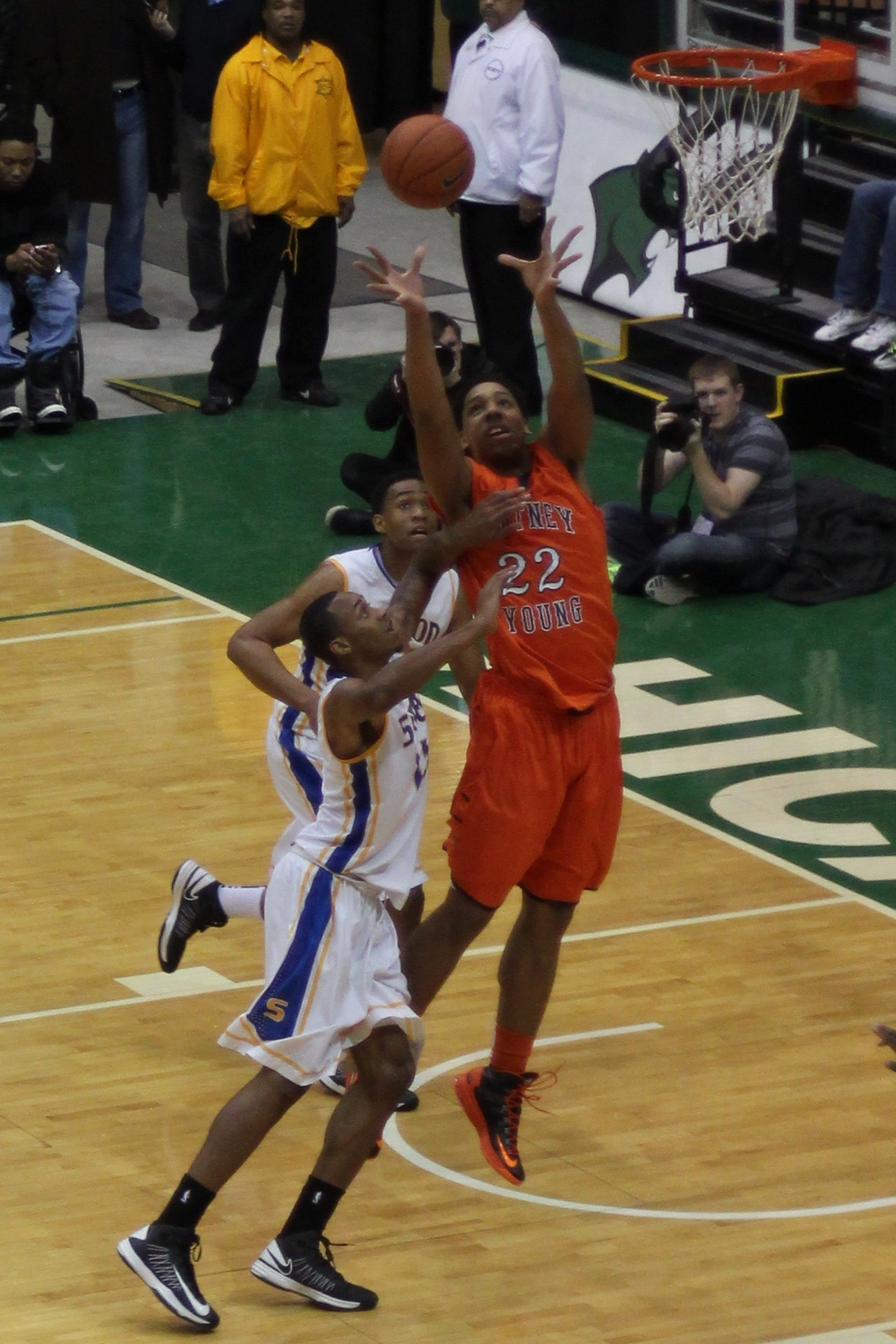 ... Jahlil Okafor jumps for a rebound at Simeon-Whitney Young game.JPG Jabari Parker Simeon