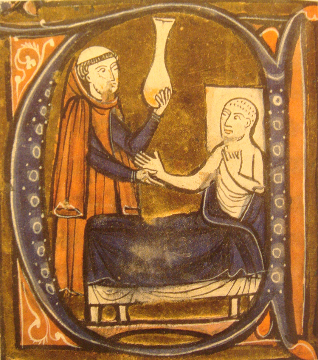 "European depiction of the Persian (Iranian) doctor Al-Razi, in Gerardus Cremonensis ""Recueil des traités de médecine"" 1250-1260. (Wikimedia Commons)"