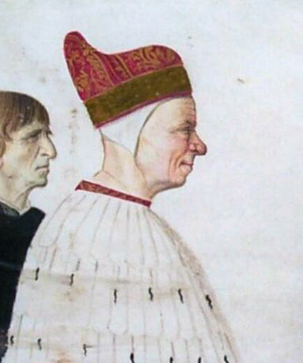 Detail of portrait by [[Gentile Bellini]]