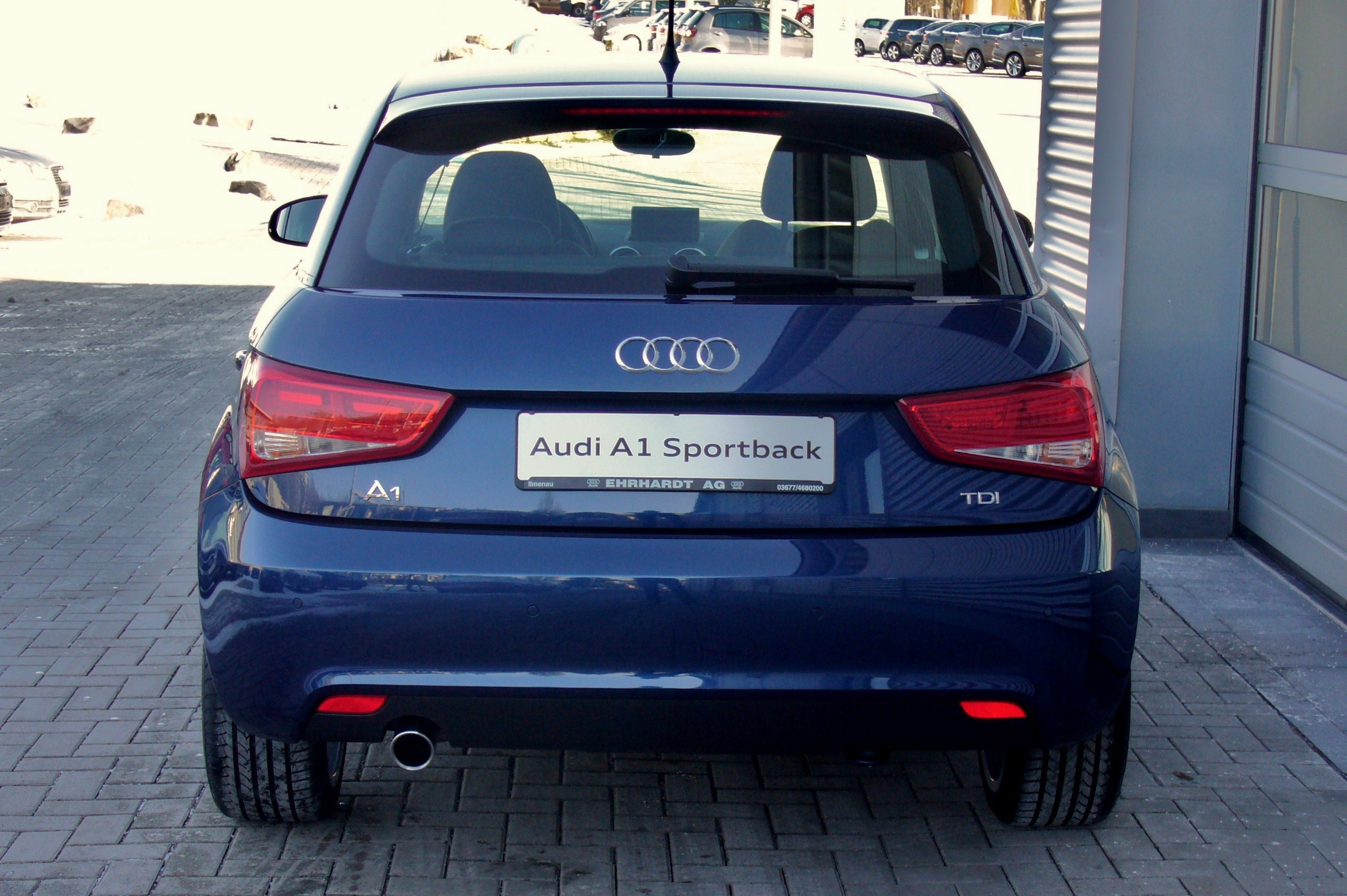 file audi a1 sportback ambition 1 6 tdi scubablau hinten. Black Bedroom Furniture Sets. Home Design Ideas