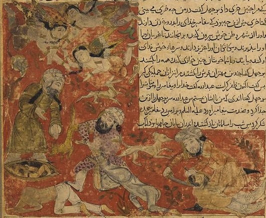 https://upload.wikimedia.org/wikipedia/commons/8/8d/Balami_-_Tarikhnama_-_The_Battle_of_Badr_-_The_death_of_Abu_Jahl%2C_and_the_casting_of_the_Meccan_dead_into_dry_wells_%28cropped%29.jpg