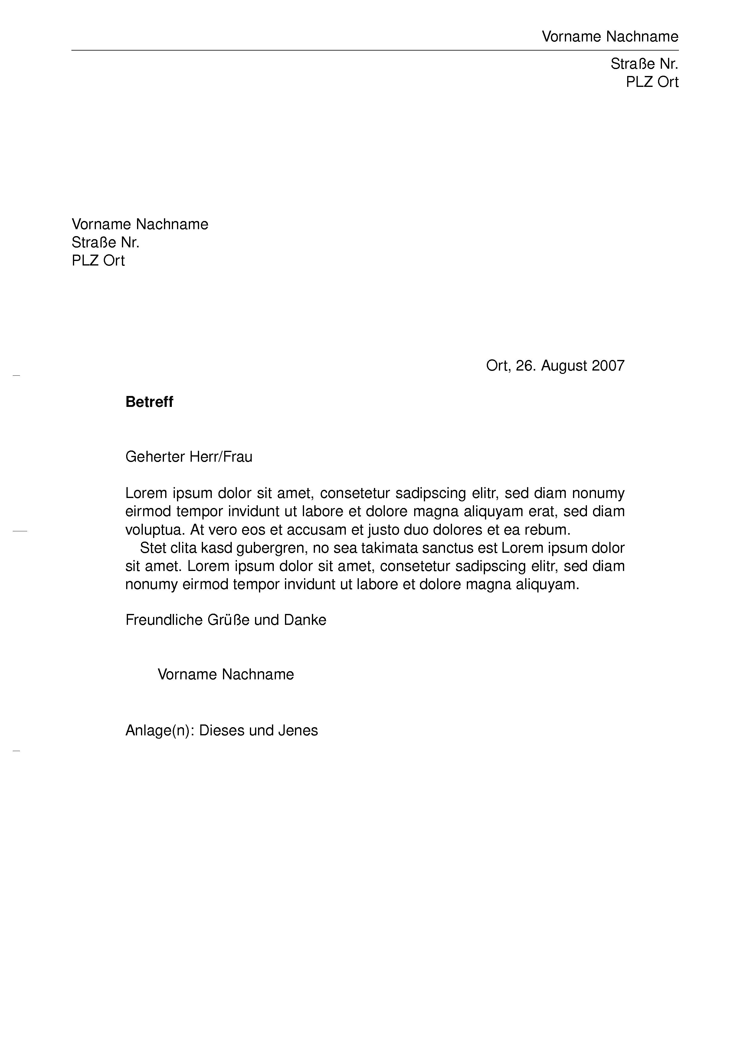 Offizielle Brief Format Normbrief Din Vorlage Deutsche Post Nett