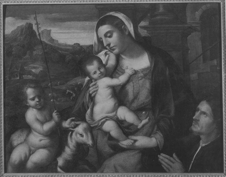 File:Bonifazio Veronese (Umkreis) - Maria mit dem Kinde, dem Johannesknaben und einem Stifter - 6338 - Bavarian State Painting Collections.jpg