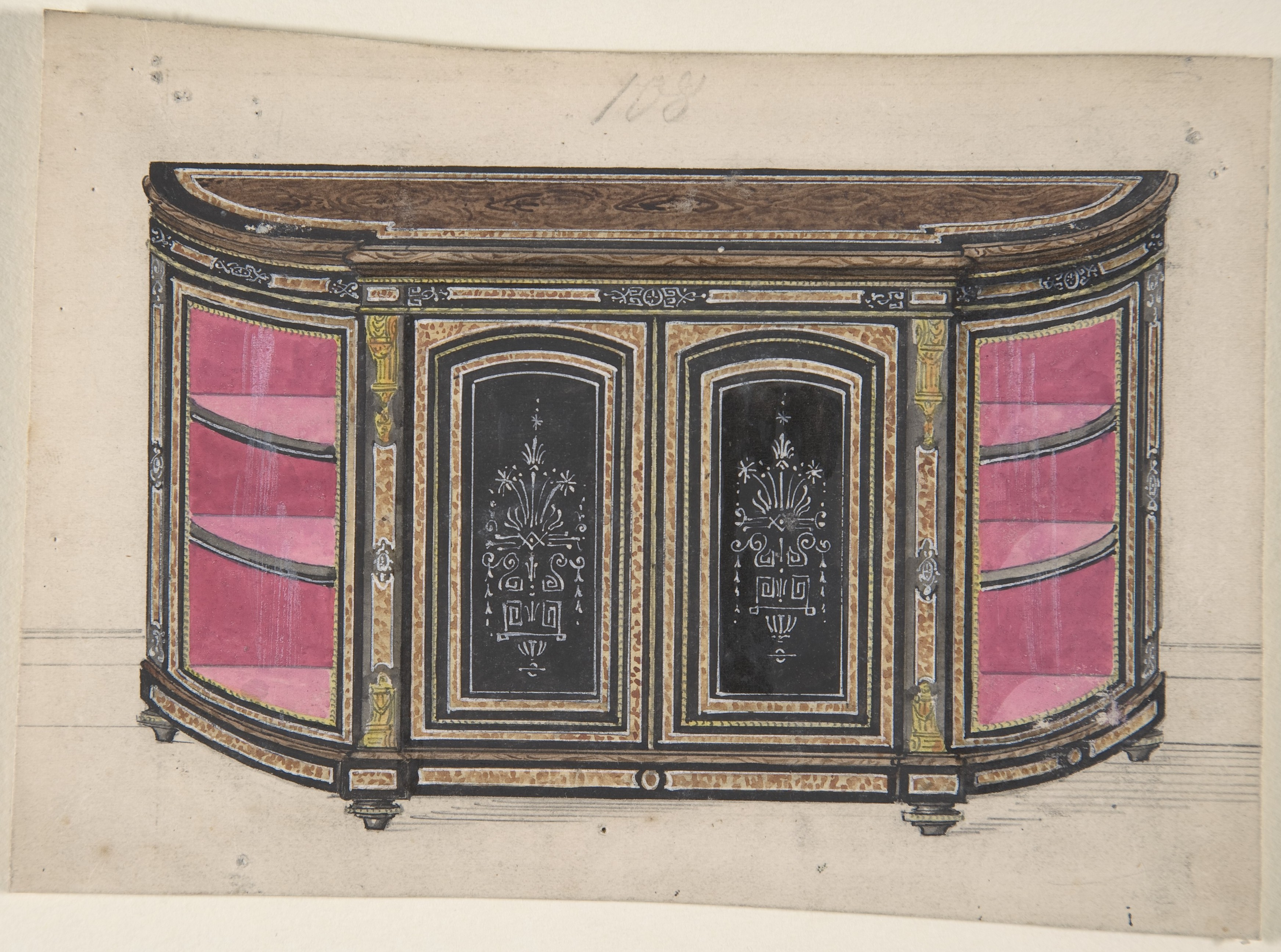 Creator:Anonymous, British, 19th century Title Cabinet Design with Black Doors and Red Interior Drawing ; Ornament and Architecture; Drawings