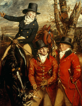 The Rev. William Heathcote (1772–1802), on horseback (son of the 3rd Baronet); Sir William Heathcote of Hursley, 3rd Baronet (1746–1819), holding his horse and whip; and Major Vincent Hawkins Gilbert, M.F.H., holding a Fox's mask. The Heathcote's family seat was Hursley House. Daniel Gardner portrayed the three gentlemen on the hunt in 1790.