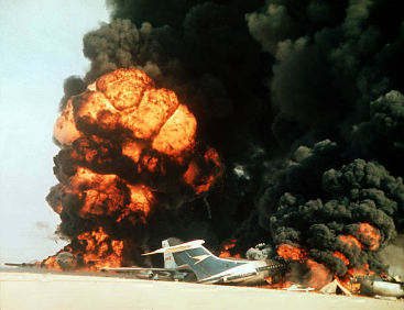 File:Dawson's field aircrafts blown up in Jordan, 12 September 1970.png
