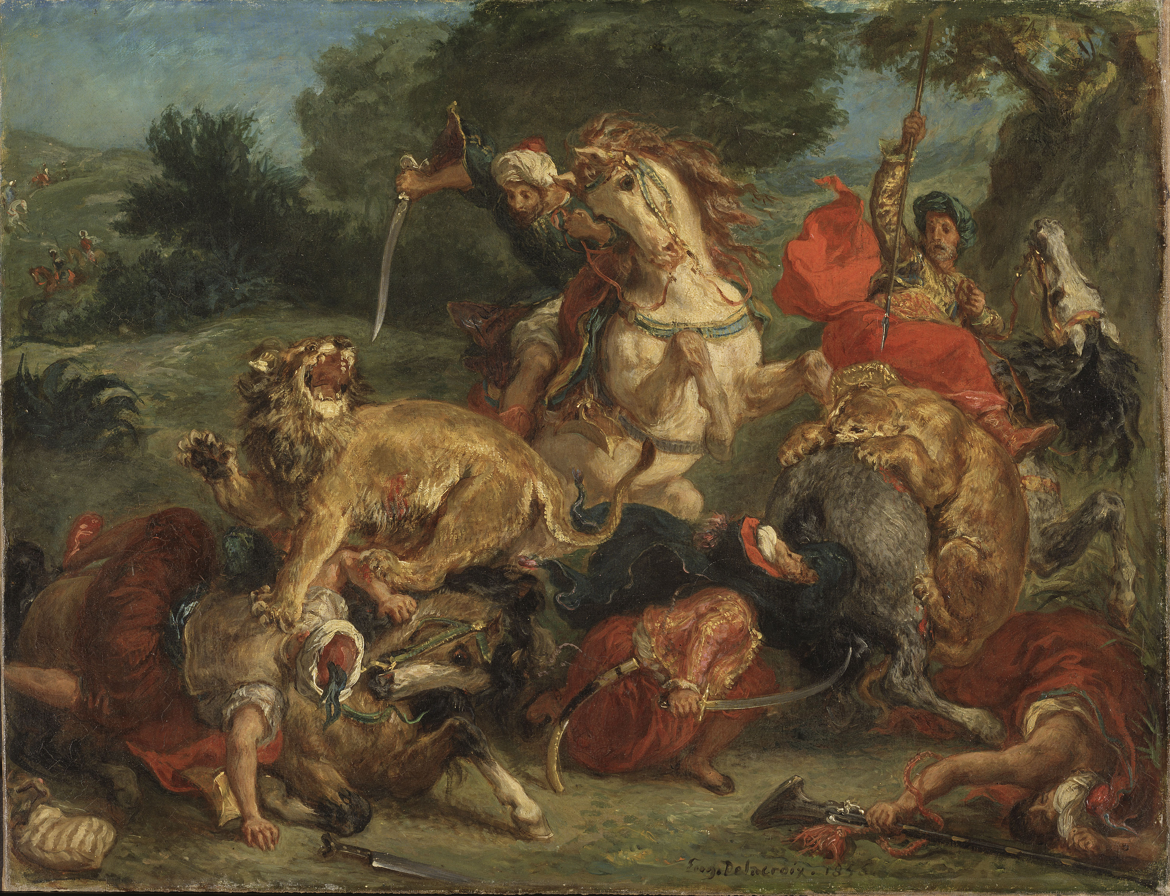 File delacroix lion hunt 1855 jpg wikimedia commons for Peinture crocodile