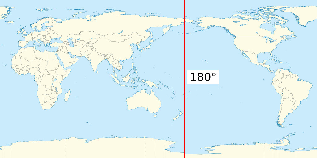 International Date Line On World Map.180th Meridian Wikipedia