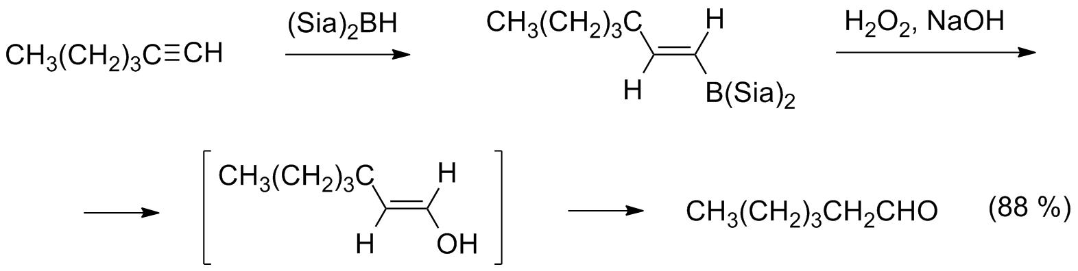 Гидроборирование— окисление гексина-1
