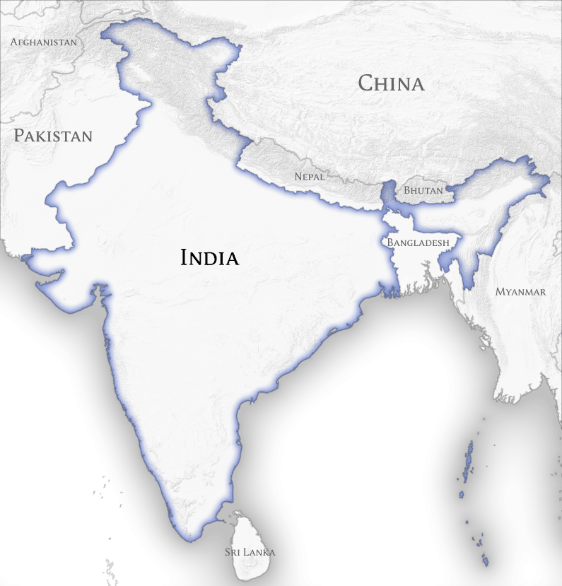 Description India and Neighbouring Countries Map (official borders ...