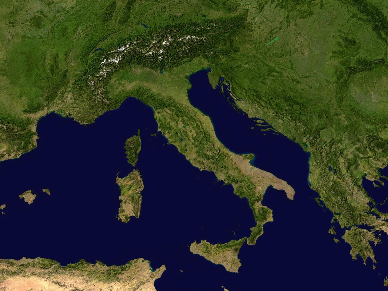 Italien Satelliten Karte