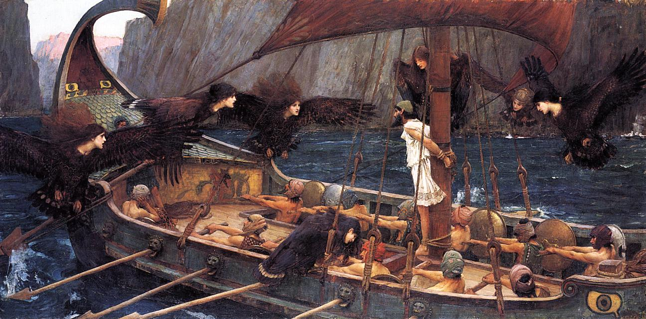 An image of Odysseus and the Sirens by John William Waterhouse.