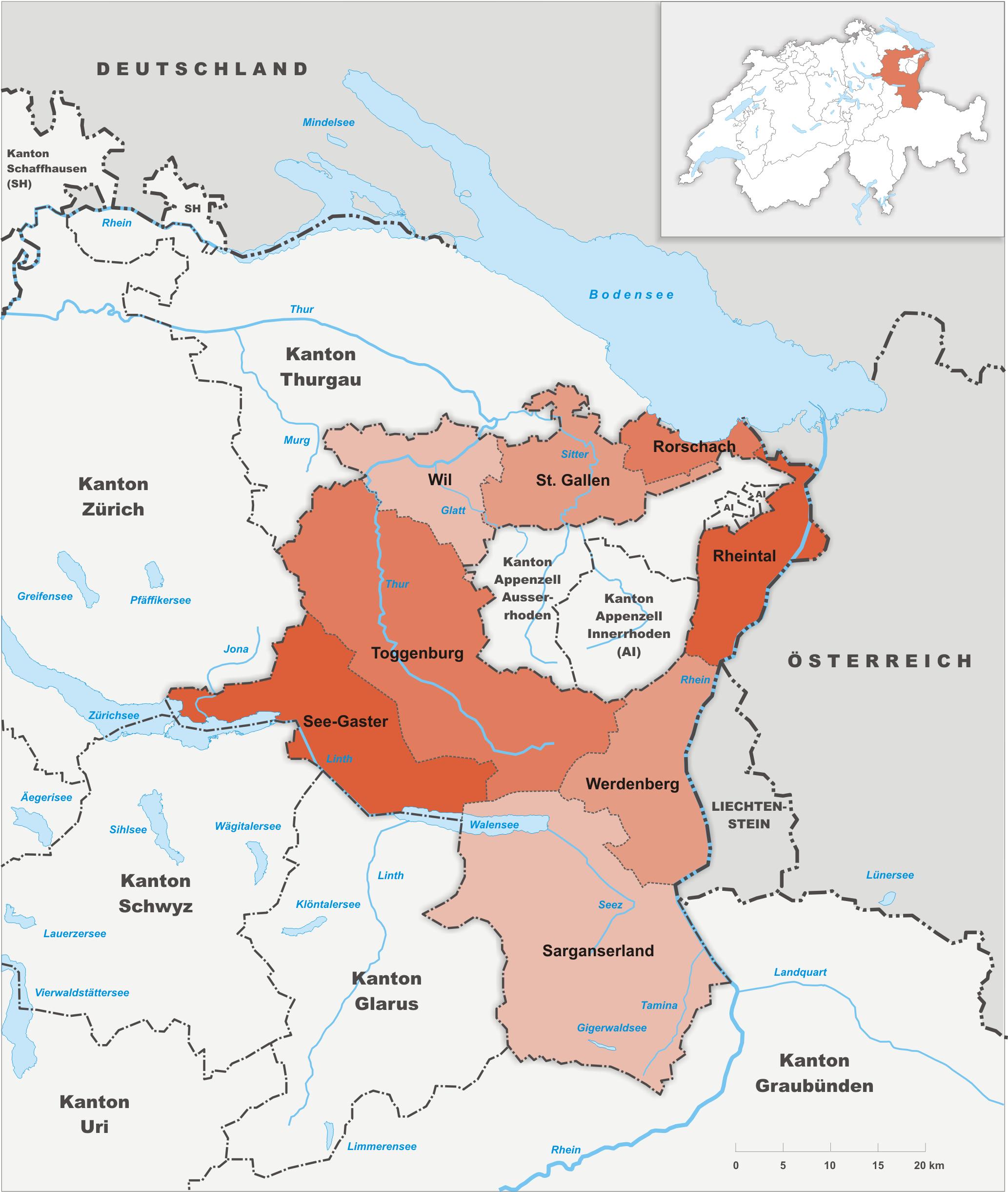 Wahlkreise des Kantons St. Gallen