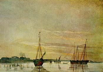 Рисунок Т.Г.Шевченко, изображающий шхуны Аральской экспедиции (1848)
