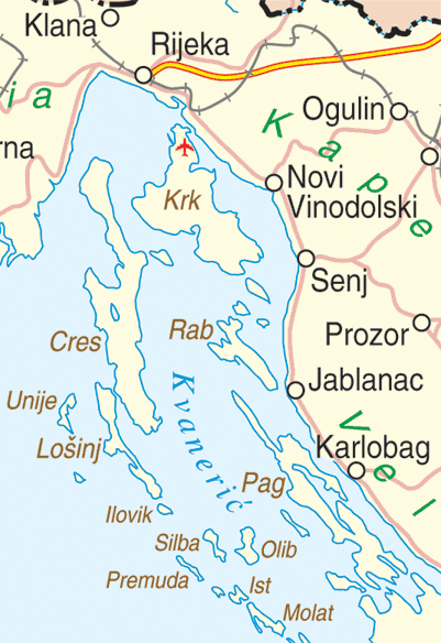 Map showing location of Cres off the Croatian coast.