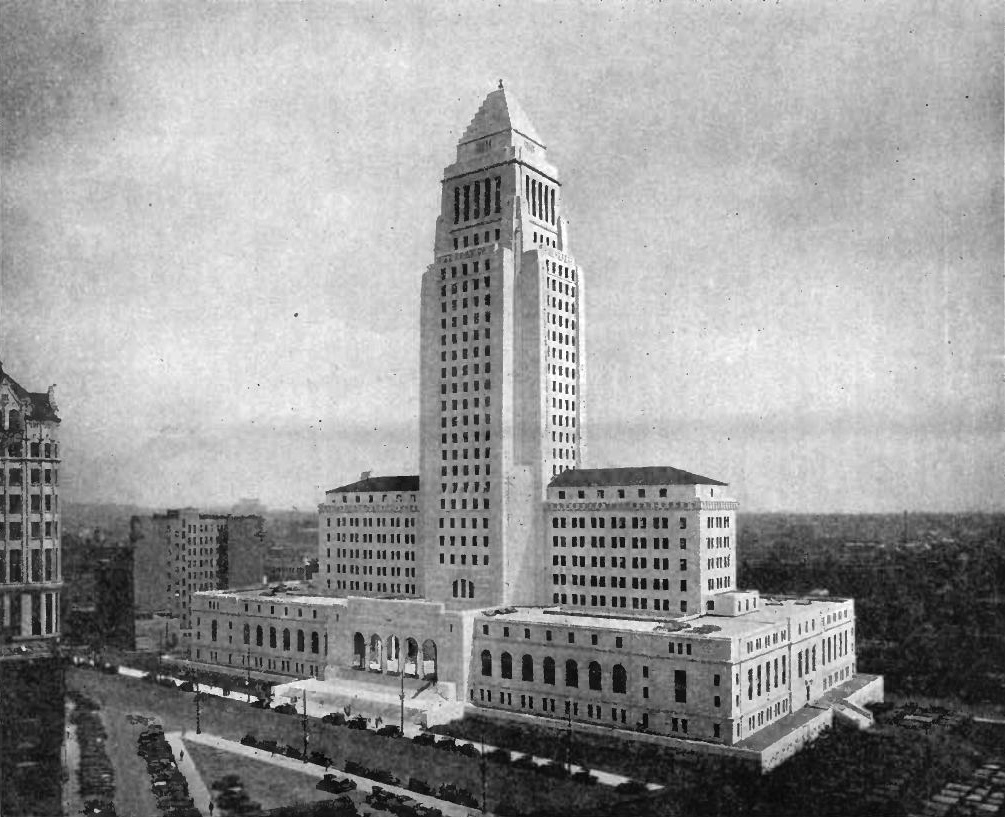 Los Angeles City Hall, shown here in 1931, was built in 1928 and was the tallest structure in the city until 1964, when height restrictions were removed.