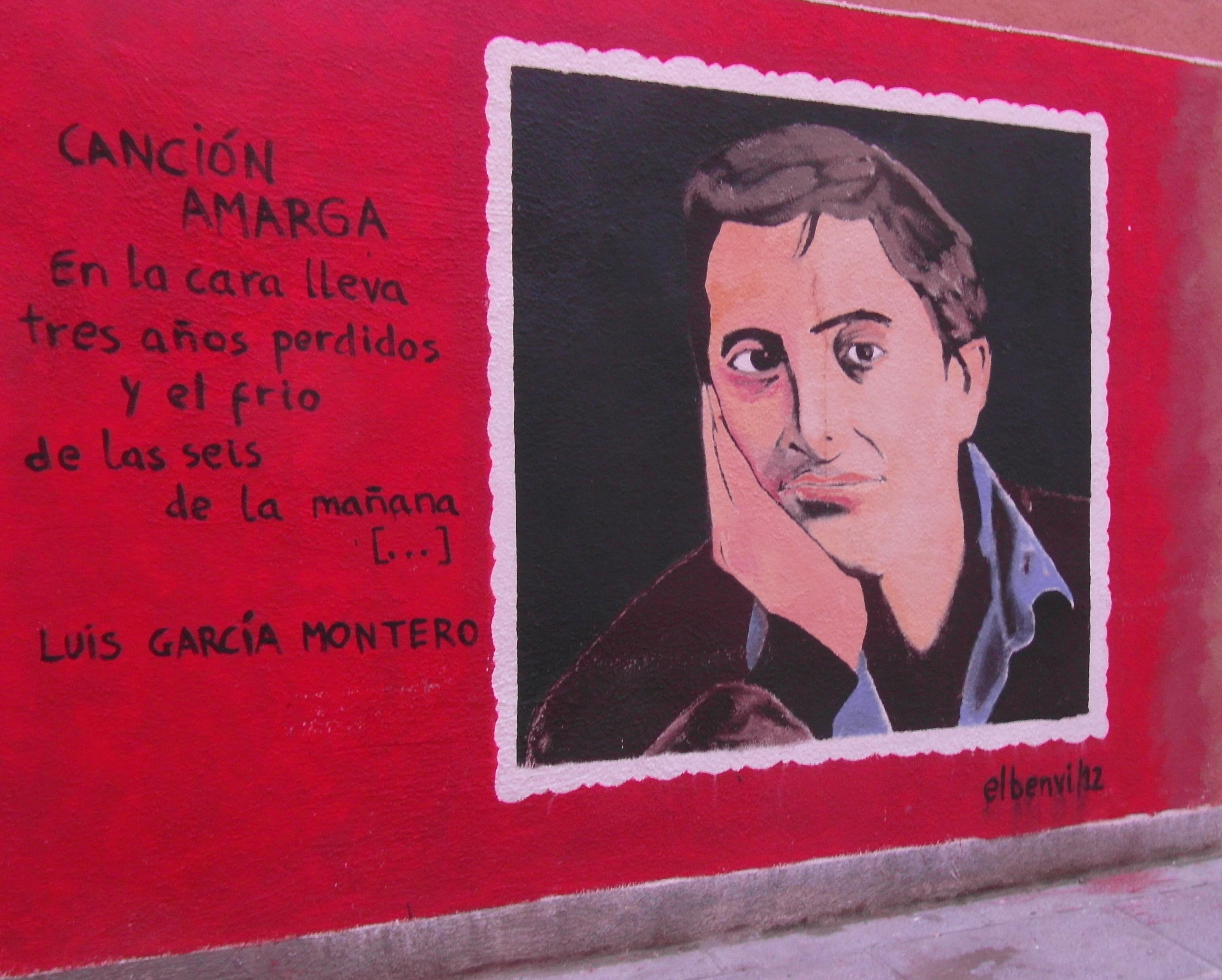 Mural de Luis García Montero,obra del pintor Benvi Parrilla.