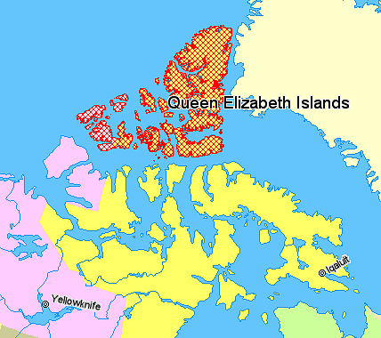 Ficheiro:Map indicating the Queen Elizabeth (or Parry) Islands, northern Canada.png