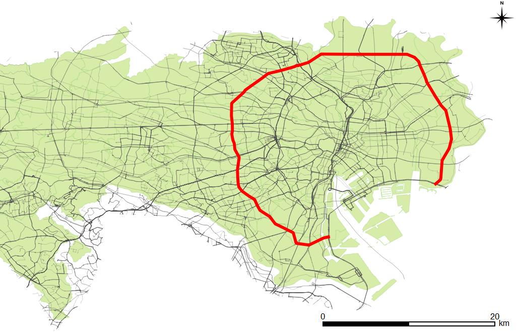 Map of Kannana-Dori Ave.Tokyo Metropolitan Road Route 318.png
