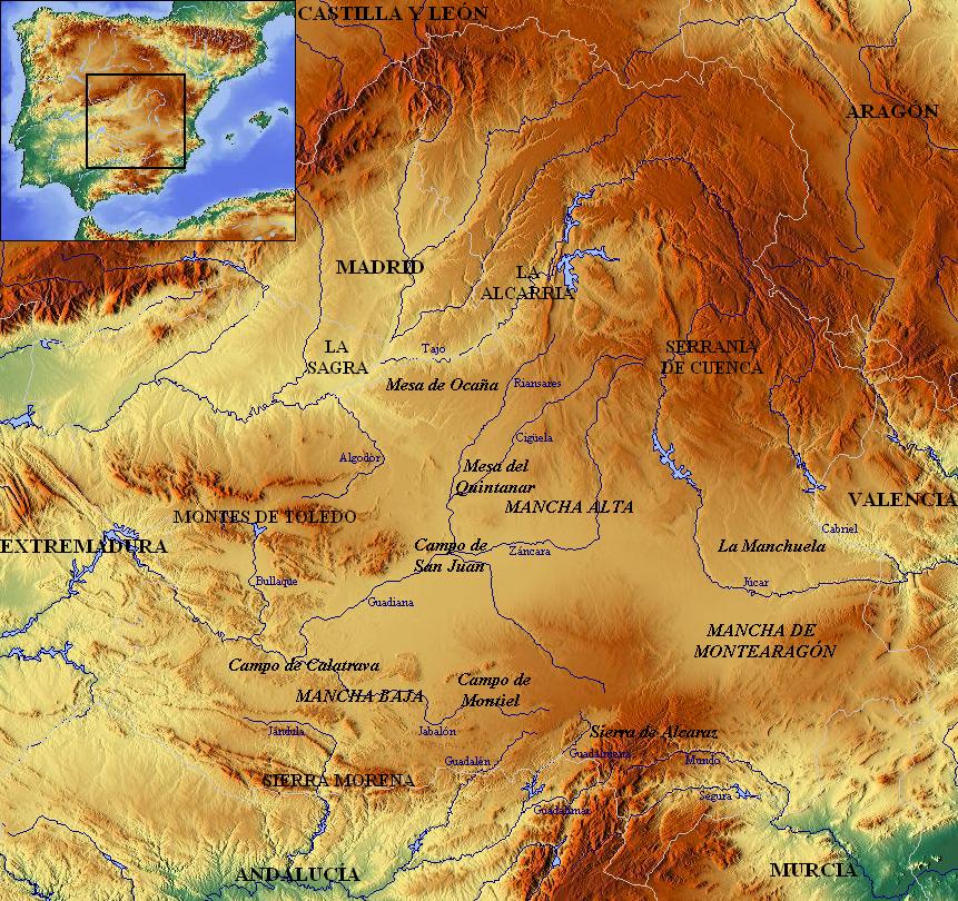 Montes De Leon Mapa.Meseta Sur Wikipedia La Enciclopedia Libre