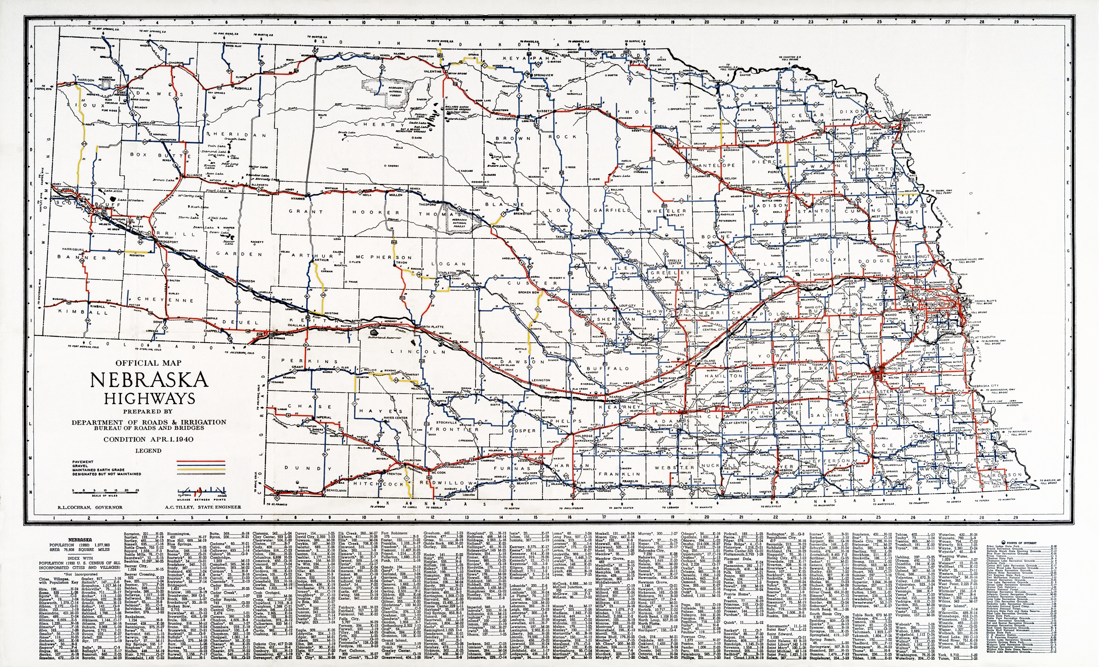 Nebraska Highway Map File:Official Map   Nebraska State Highway System (1940).png  Nebraska Highway Map