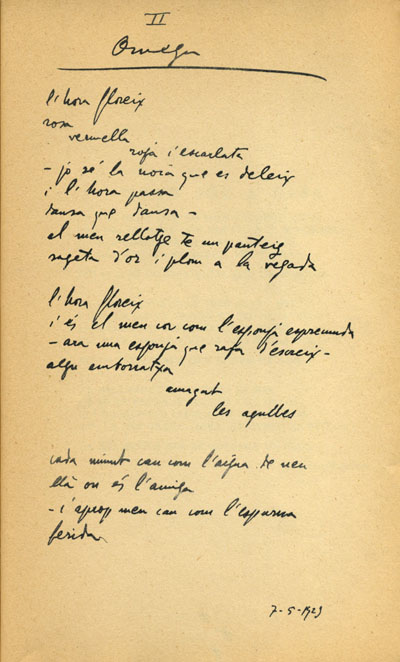 Versión manuscrita del poema «Omega», del libro póstumo Óssa Menor.