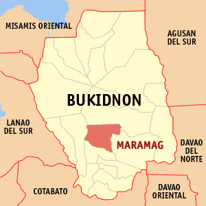 Map of Bukidnon showing the location of Maramag