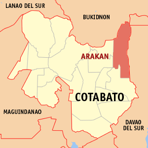 Map of Cotabato showing the location of Arakan