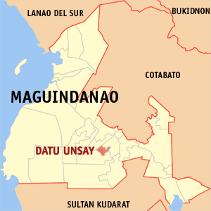 Map of Maguindanao showing the location of Datu Unsay