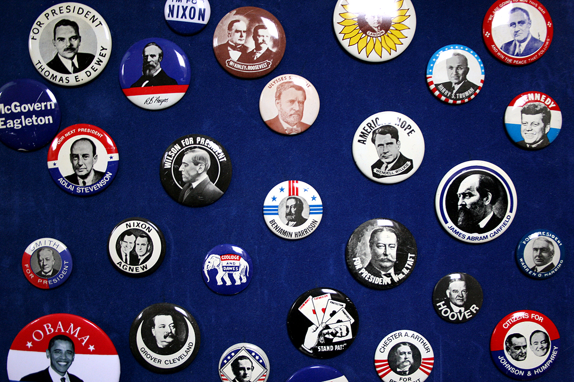 Presidential Election badges, Andy Clarke.