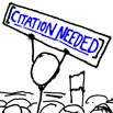 "Stick figure holding sign that reads ""citation needed"""