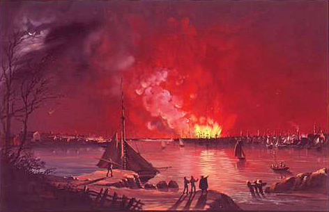 View of the Great Fire in New York, December 16–17, 1835, as seen from Williamsburg, Nicolino Calyo