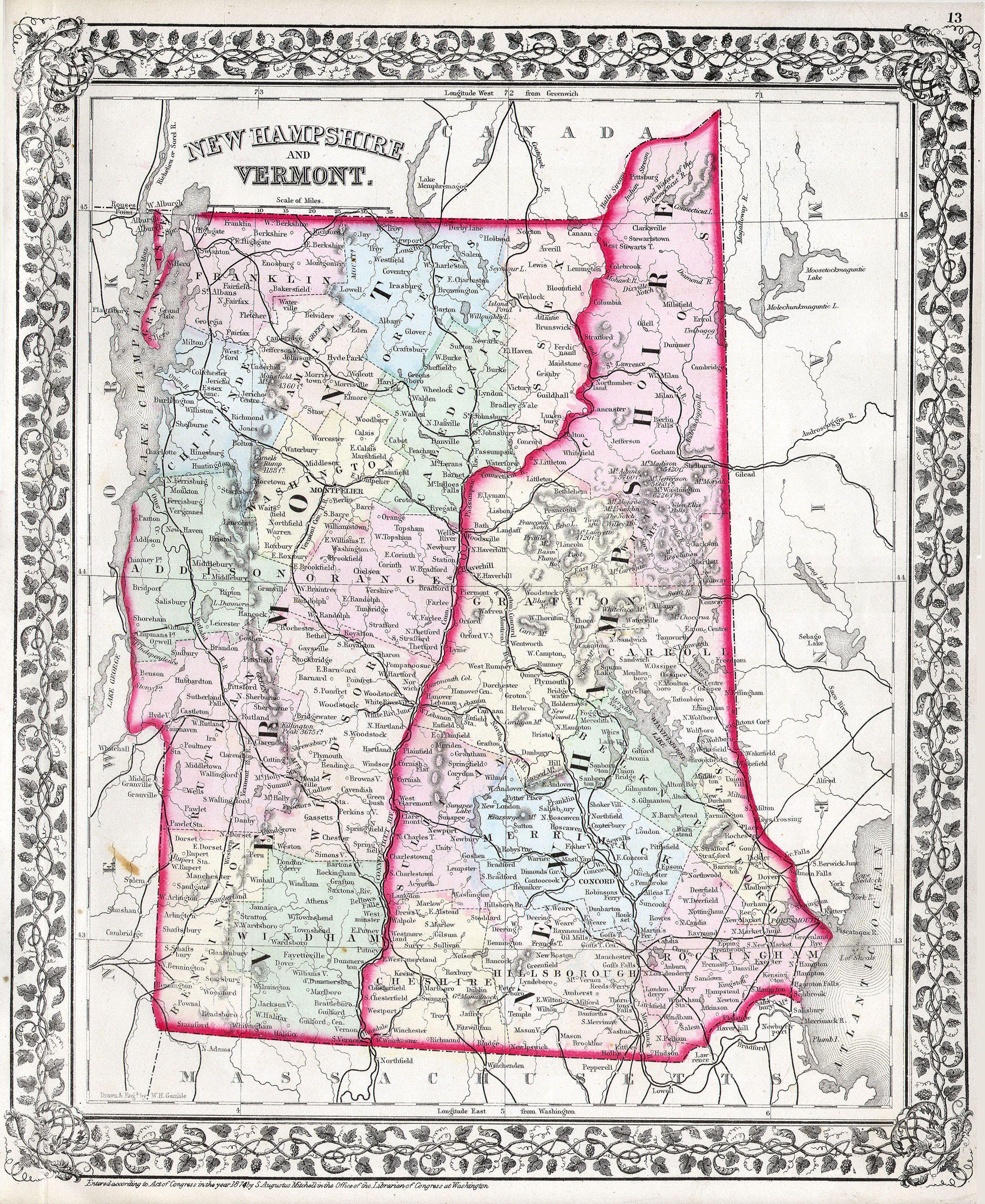 File Mitchell Map Of Vermont And New Hampshire Geographicus - Map of new hampshire towns
