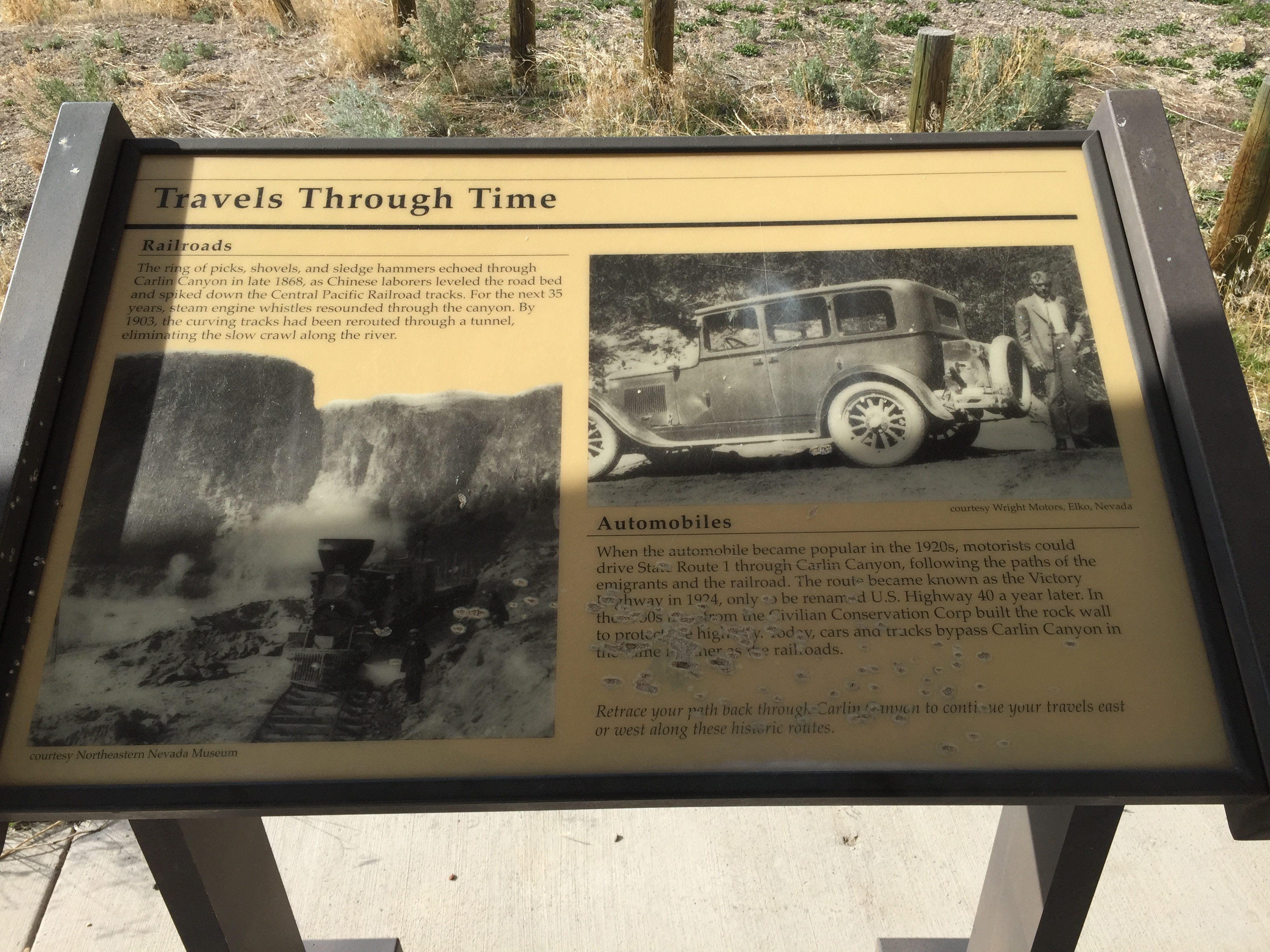 """File:2015-04-19 16 31 52 """"Travels Through Time"""" (part 2) descriptive sign within the Carlin Canyon of Elko County, Nevada.jpg"""