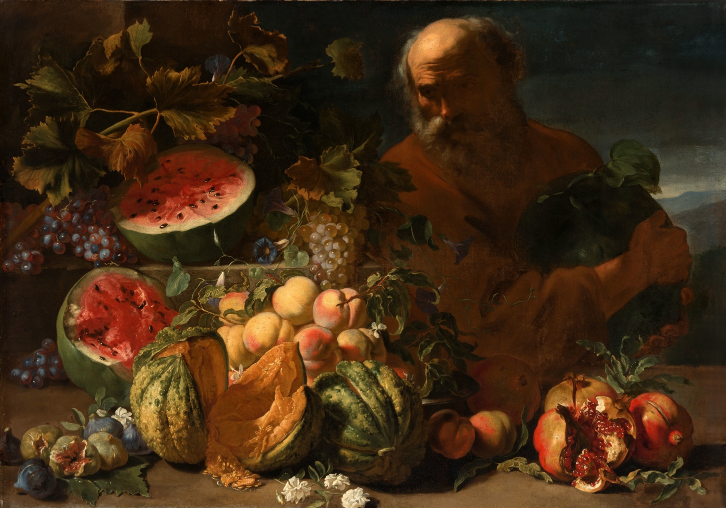 https://upload.wikimedia.org/wikipedia/commons/8/8e/Abraham_Brueghel_-_Still_life_of_fruit_with_a_man.jpg