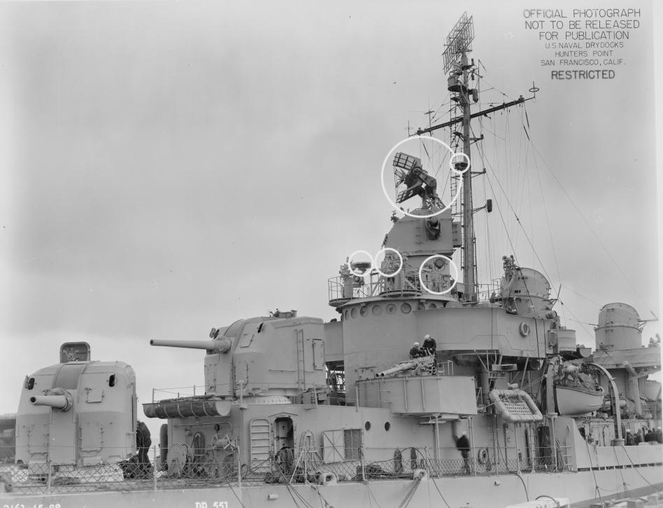 Amidships view of USS David W. Taylor (DD-551) at Hunters Point Naval Shipyard, California (USA), on 23 April 1945.jpg