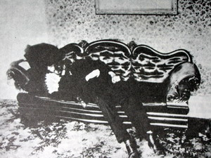 Man lying on a sofa