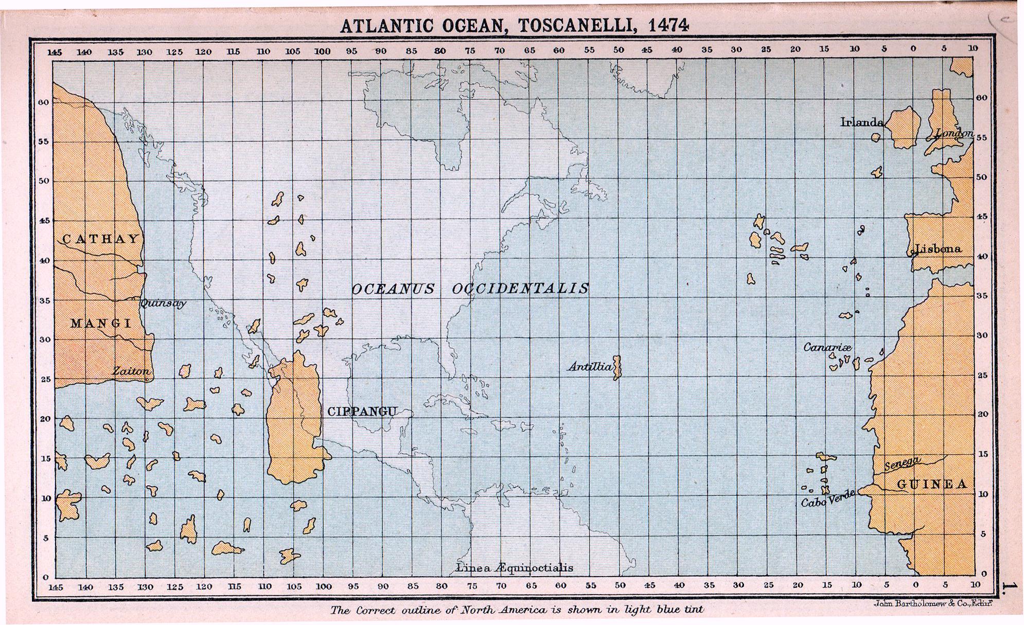 Mapa do Oceano Atlântico de acordo com Paolo dal Pozzo Toscanelli (1474) que profundamente influenciou Cristóvão Colombo, com um mapa das Américas sobreposto para comparação