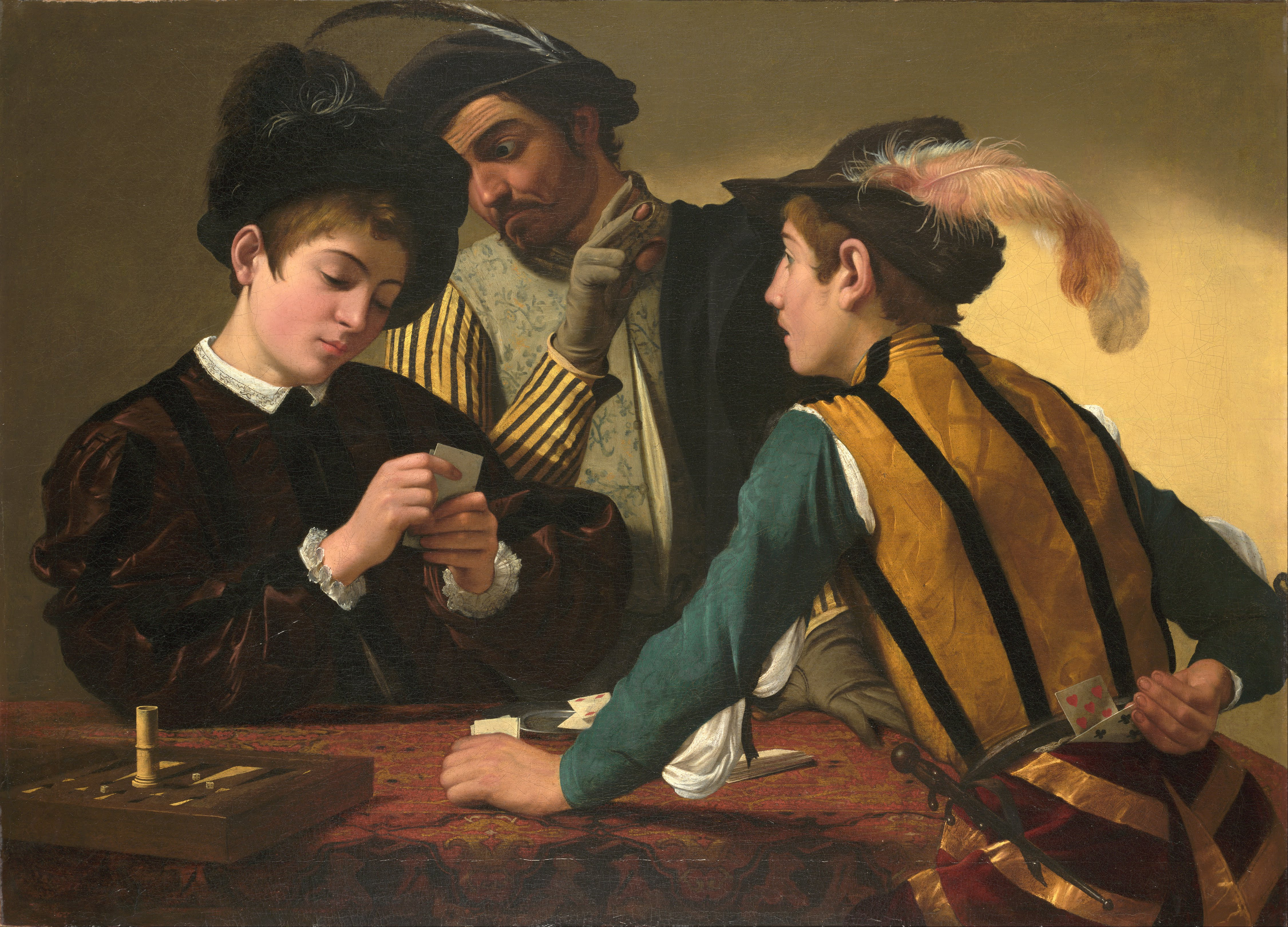 Resultat d'imatges de caravaggio the cardsharps c. 1594