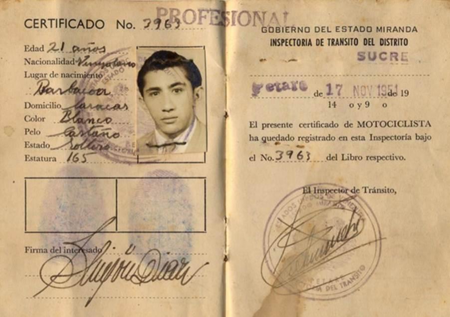 Primera licencia de conducir de Simón Díaz (1951)