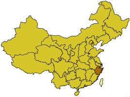 Localización de la provincia de Zhejiang.