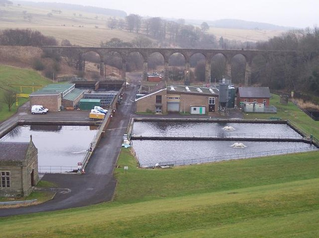 Disused Railway Viaduct and Water Treatment Works, Fontburn, Northumberland. - geograph.org.uk - 125344