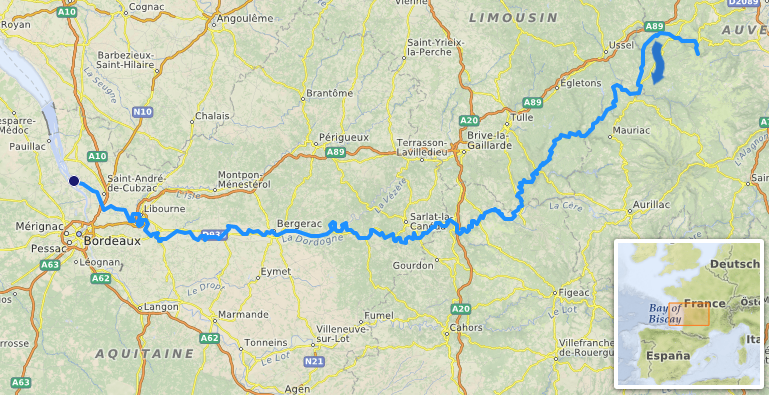 Река Дордонь на карте
