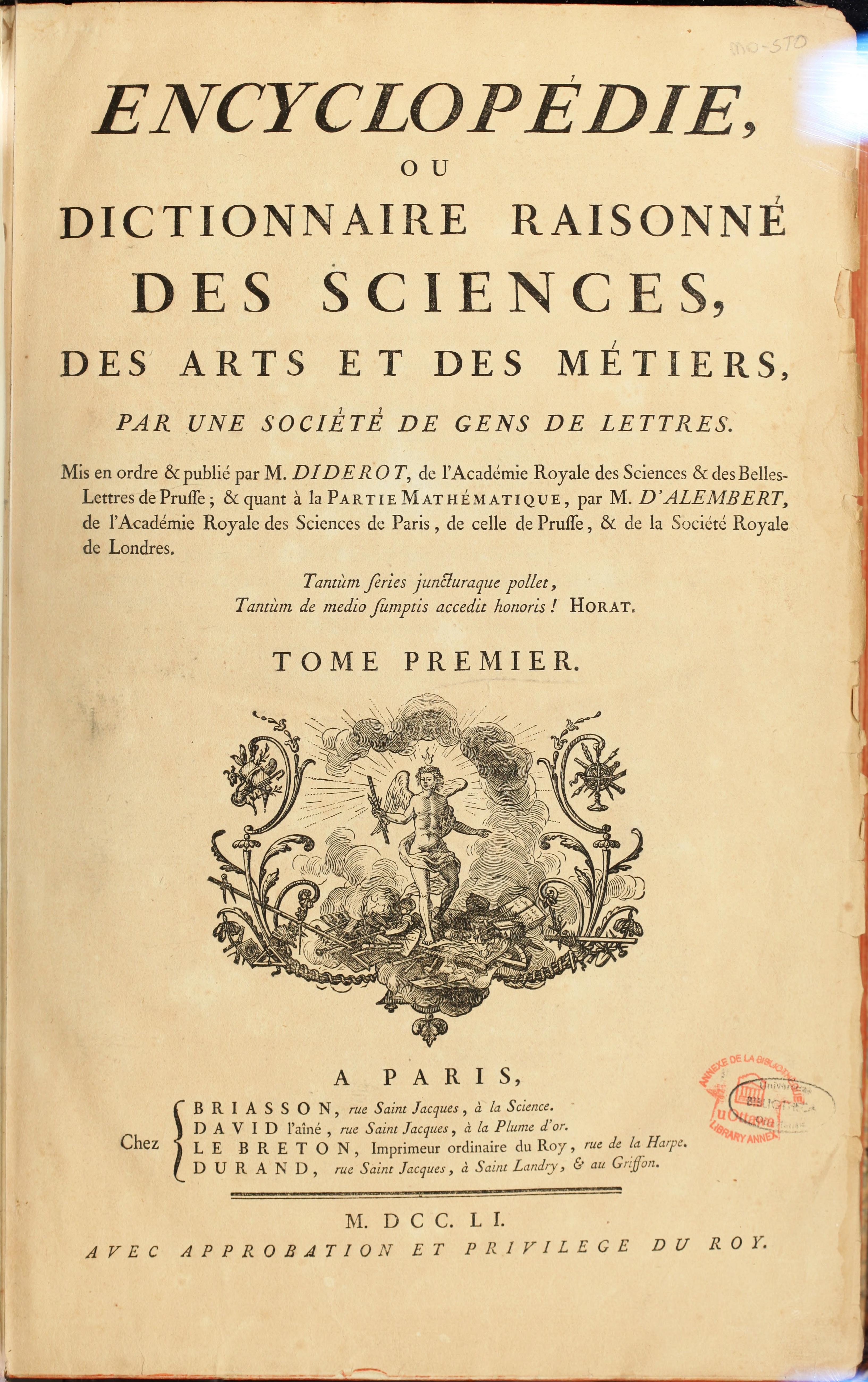 première page de l'Encyclopédie de Diderot et d'Alembert, oeuvre monumentale du siècle des Lumières
