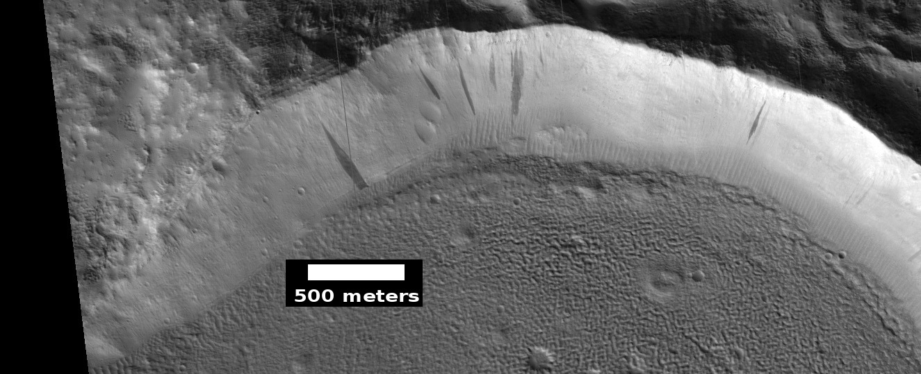 Dark slope streaks in crater, as seen by HiRISE under HiWish program