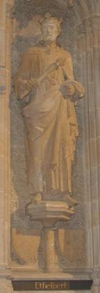 Statue of Æthelberht.  Interior of Rochester Cathedral
